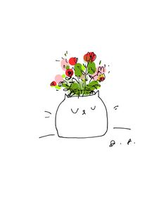 Cat Vase Spring Card Set by jamieshelman on Etsy, $18.00