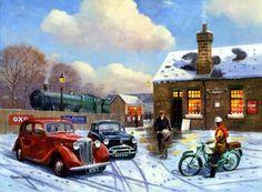 Kevin Walsh - Pictures of Classic Cars/Automobile Art Nostalgic Art, Bonde, Train Art, Puzzle Art, Cartoon Art Styles, Car Painting, Painting Canvas, Country Art, Automotive Art