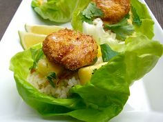 Island Shrimp Lettuce Cups (coconut-&-cornmeal-breaded-shrimp on top of coconut-almond-rice in butter-lettuce cups) Seafood Dishes, Seafood Recipes, Cooking Recipes, Healthy Recipes, Breaded Shrimp, Lettuce Cups, Tasty Kitchen, Nutrition, How To Cook Shrimp