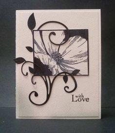 handmade card ... Black and White ... luv the way the flourish twines around the main image ...