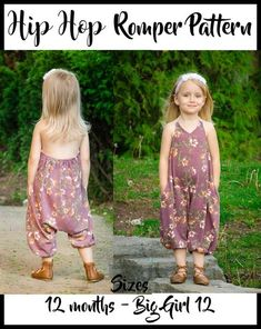 Girl's Hip Hop Romper Pattern - Ellie and Mac, Digital (PDF) Sewing Patterns Sewing Projects For Beginners, Sewing Tutorials, Sewing Hacks, Sewing Tips, Basic Sewing, Sewing Ideas, Sewing Crafts, Diy Projects, Rompers For Kids