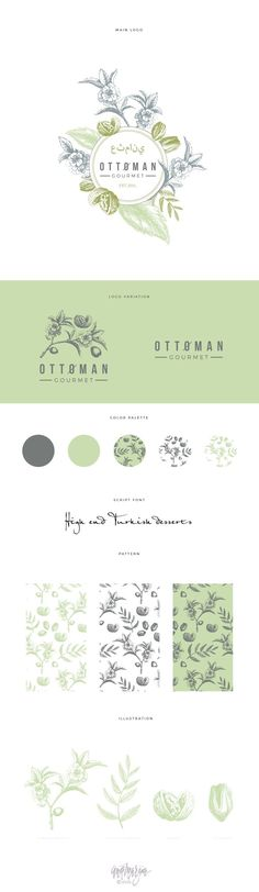 Logo proposal with brand development for Turkish sweets shop. It has handdrawn botanical parts which are planned to use for packaging and other promo material