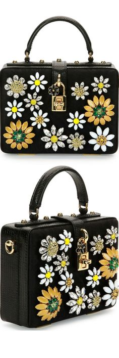Dolce & Gabbana Dolce Box Crystal Flower Satchel Bag | LOLO❤︎
