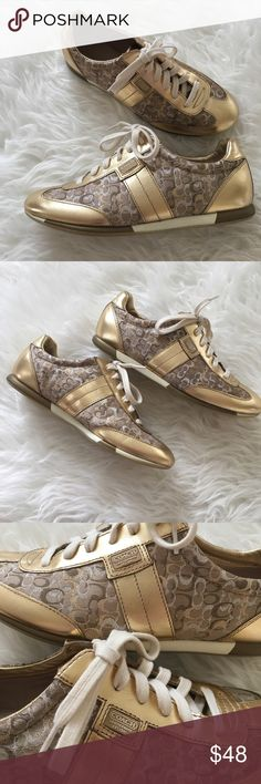 """Authentic Coach Joss Gold Sneakers These beautiful Coach """"Joss"""" style A1265 sneakers feature the signature """"C"""" in silver, gold and bronze. Size: 9M. The only imperfection is a single, slight smudge on right heel (5th) photo. Otherwise excellent condition! Coach Shoes Sneakers"""