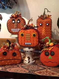 Finished these Melissa Shirley pumpkins for customers at Park Avenue Needlepoint. I want these so bad, love them.