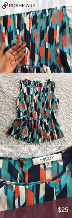 NINE WEST - Suit Separates  Blouse  Beautiful Nine West Blouse from the Suit Separates line❗️Size Medium • Top is very light wait • Pleated • Flares out at the bottom • Pair with whatever bottoms you want!!  Nine West Tops Blouses
