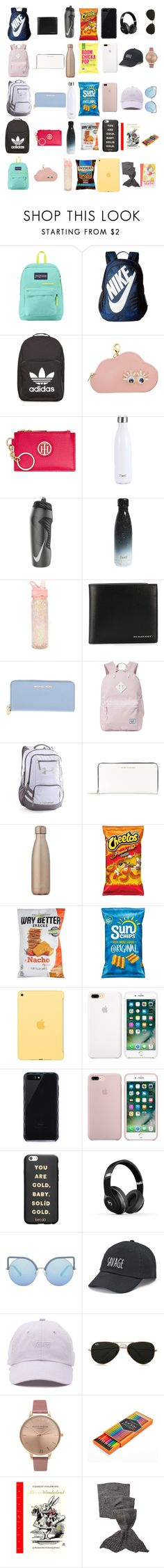 """""""Travel"""" by ale-needam on Polyvore featuring JanSport, NIKE, adidas, Sophie Hulme, Tommy Hilfiger, S'well, ban.do, Burberry, Michael Kors and Herschel Supply Co."""