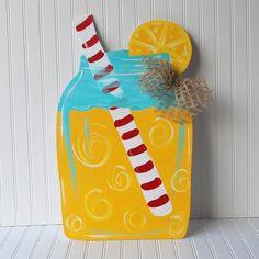 Summer Door Hanger: Mason Jar Door Hanger, Door Decoration, Summer Wreath