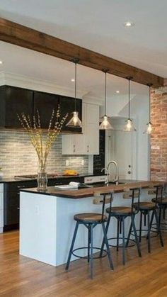 Kitchen Room Design, Modern Kitchen Design, Interior Design Living Room, Farmhouse Kitchen Decor, Home Decor Kitchen, Home Kitchens, Kitchen Ideas, Küchen Design, House Design