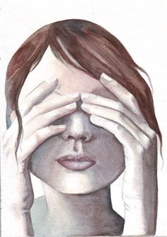 Image result for watercolor hiding person