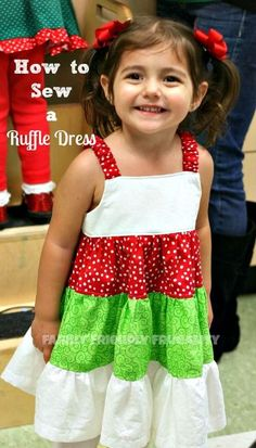How To Sew A Ruffle Dress – A Quick 3 Tier Ruffle Dress Tutorial For A Little Girl: http://www.familyfriendlyfrugality.com/how-to-sew-a-ruffle-dress-a-quick-3-tier-ruffle-dress-tutorial-for-a-little-girl/