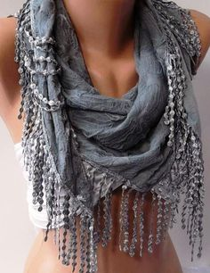 Grey  Elegance Shawl / Scarf by womann on Etsy, $17.90 pretty