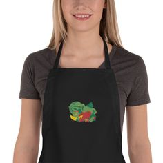 Mom Boss - Mom's Home Cooking Chefs Embroidered Apron Black Apron, Embroidered Apron, Our Lady Of Lourdes, Chef Apron, Kitchen Aprons, Kitchen Towels, Apron Pockets, Long Ties, How To Squeeze Lemons
