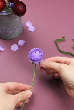 crepe paper ranunculus flowers DIY project tutorial with petal template on…