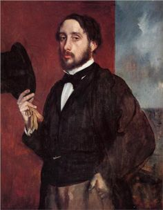 Self Portrait Saluting - Edgar Degas. Degas was born in Paris, France, into a moderately wealthy family. He was the eldest of five children of Célestine Musson De Gas, a Creole from New Orleans, and Augustin De Gas, a banker.