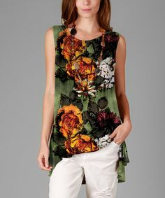 Another great find on #zulily! Green Floral Hi-Low Tunic - Plus by Sunflower #zulilyfinds