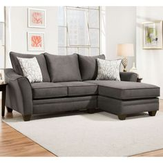 Cozy Up On This Gray Microfiber Sofa Chaise With Patterned Pillows Savvy 2 Piece Right