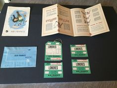 VTG 1950's Air France Safety Instructions, Menu, Comment Card and Baggage Ticket