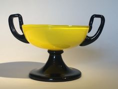The COLOR on this Czech Bohemian Yellow Tango 2 Handled Tazza | Collectors Weekly