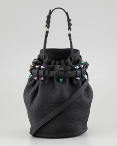 Alexander Wang Diego Bucket Bag, Black/Iridescent