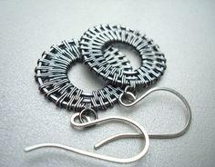 Wire Wrap Earrings Woven Silver Earrings Wire by Weaversfield