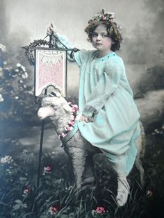 Antique french Easter postcard - Little girl child, lamb sheep flowers, flag…