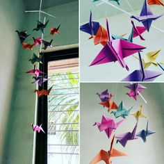 Paper crane wall hanging.... #homedecor #cheapideas #diy
