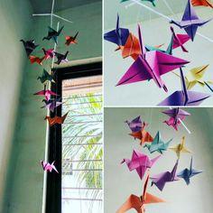 Paper crane wall hanging.... #homedecor #cheapideas #diy