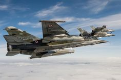 The French Armée de l'Air Dassault Mirage F1-CR (now retired from French service), in the foreground of the photograph, is equipped with ASTAC pod, located under the belly of the aircraft - Photo: © A. Jeuland / Air Force.