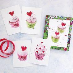 Valentines Cupcake Card  Original Watercolor greeting card on