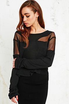 Sparkle & Fade Mesh Insert Boxy Tee in Black