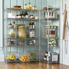 for a walk in pantry - bold color, stainless shelving
