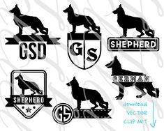 Dog Monogram German Shepherd Alsatian SVG by PetSilhouetteStudio