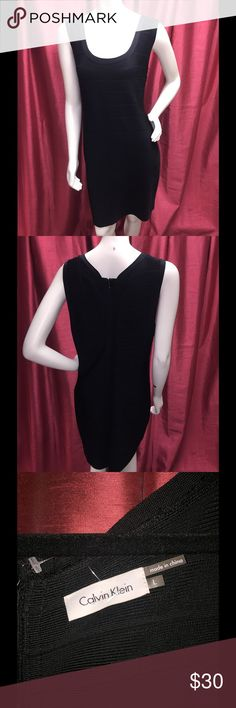 "Calvin Klein Knit Dress w/Ribbed Detail Calvin Klein Knit Dress w/Ribbed Detail. Scoop Neck, Zipper back, Size L, 38""Long, 42"" Bust, 34"" waist, Calvin Klein Dresses Midi"