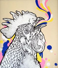 coq au ink 2012, Acrylic on Wood #rooster #coq #color #ink #cock