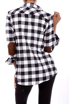 Fabulous black and white flannel with suede elbow patches Katieroseboutique.com