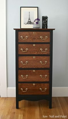 Vintage Chest Makeover in Lamp Black and Java - Saw Nail and Paint Grey Bedroom Furniture, Furniture Fix, Refurbished Furniture, Upcycled Furniture, Furniture Projects, Furniture Buyers, Furniture Refinishing, Rustic Furniture, Wood Projects