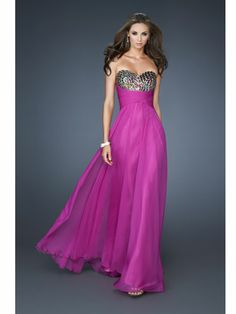 Chiffon Dress with Gem-Encrusted Bodice #prom