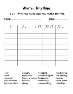 Winter-rhythms (syllables) this is great!! Could be used for any word list!