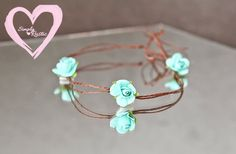 Baby Head tie headband newborn shabby chic delicate in teal 3 roses for babies photo shoots Valentine love fits all delicate SHIPS FREE