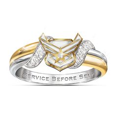 Solid sterling ring has one silver and one gold-plated band plus 4 pavé set diamonds, the Air Force emblem and engraved motto.