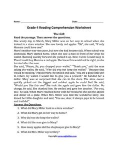 The Gift Fourth Grade Reading Worksheets 4th Grade Reading Worksheets, Reading Comprehension Activities, Reading Passages, Comprehension Exercises, Comprehension Questions, Reading Test, Third Grade Reading, Reading Skills, Writing Skills