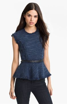 Pair your casual bofriend jeans with this elegant rebecca taylor peplum top for a look that is ready to take on the city in style: Rebecca Taylor Tweed Peplum Top available at #Nordstrom