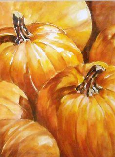 watercolors - pumpkins