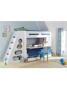 Lit mezzanine noah avec bureau et rangements int gr s 90x190cmix promo lit - Lit mezzanine avec escalier ...