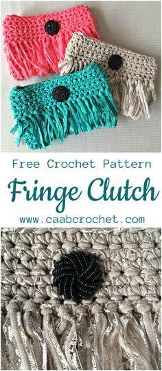 Free Crochet Pattern from CAABCrochet.com. Fringe Clutch Purse with button closure.