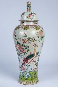 Large Chinese Famille Rose Porcelain Covered Vase, Modern