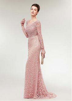 Magbridal Stunning Lace Scoop Neckline Long Sleeves Mermaid Evening Dress With Beadings Ball Dresses, Nice Dresses, Ball Gowns, Bridesmaid Dresses, Prom Dresses, Formal Dresses, Wedding Dresses, Mermaid Evening Dresses, Evening Gowns