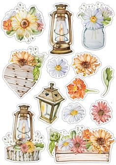 I don't actually care for the art style but I love this in real life: wild flowers, glass jars,wood, and old fashioned lanterns! >>>Roses_стили и странички для скрапа Stickers Kawaii, Cute Stickers, Journal Stickers, Printable Planner Stickers, Printables, Scrapbooking Stickers, Scrapbook Paper, Scrapbook Supplies, Tumblr Stickers