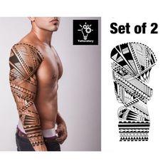 Enjoy instant body decor with Tattoratorys Men Temporary Tattoo Sleeve / Polynesian Tattoo Sleeve / Maori Tattoo Sleeve . Non-toxic, Waterproof, and Easily Applied. This set of 2 of Full Arm Tattoo / Men Fake Tattoo Sleeve is great for Temporary Body Makeup. Design: Set of 2 Tattoo Sleeve #Maoritattoos Full Arm Tattoos, Full Tattoo, Arm Sleeve Tattoos, Arm Tattoos For Guys, Tattoo Maori Brazo, Samoan Tattoo, Polynesian Tattoo Designs, Maori Tattoo Designs, Polynesian Tattoo Sleeve